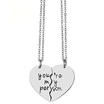 JJTZX Her One His Only Broken Heart Necklace Best Friends Necklace You are My Person Grey s Anatomy Necklace Set of 2 Couple Gift  You are My Person