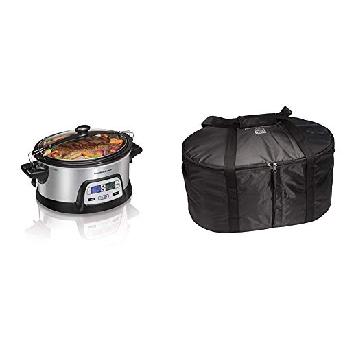 Hamilton Beach Stay or Go Portable 6-Quart Programmable Slow Cooker, Lid Lock (33861) and Hamilton Beach Travel Case & Carrier Insulated Bag (33002),Black