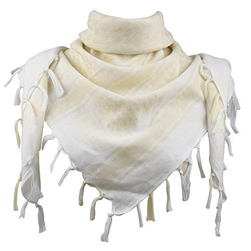 Explore Land Cotton Shemagh Tactical Desert Scarf Wrap (White and Tan)