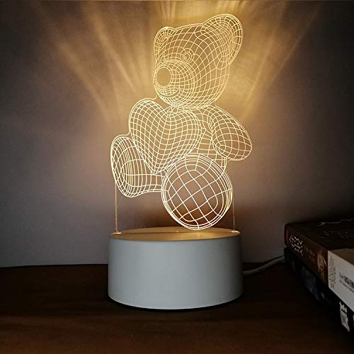Kreatives Nachtlicht 3D dreidimensionale Beschriftung DIY Persönlichkeit Design Tischlampe Geschenk praktische sinnvolle Herz Teddy DREI Farben 3W