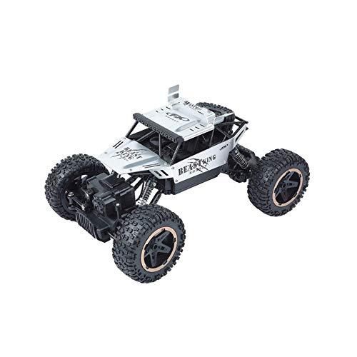 Coches de Control Remoto Aleación de Plata Escala 1:18 4WD Buggy Truck s 2.4Ghz Radio led 4x4 RTR Motores Dobles Drive Bigfoot Vehículo Juguete Educativo para niños Regalo