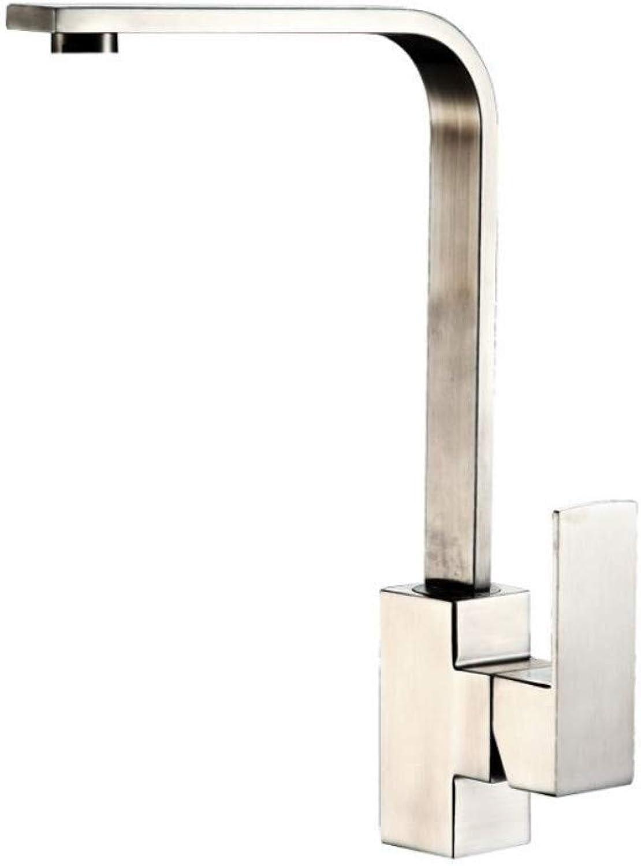 Floungey Waschtisch armaturen küchen armaturen BadinsGrößetionen quadratischer Bleifreier 304 Edelstahlhahn Heier Und Kalter Küchenhahn Sieben-Wort-Flachrohr, Das Wanne Dreht