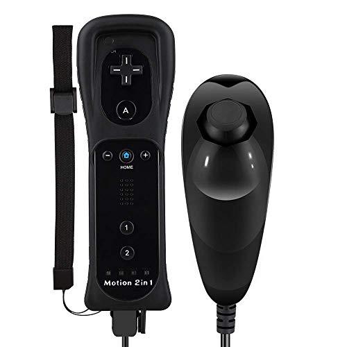 Mando Wii Motion Plus, Hokyzam Mando inalámbrico de y palanca de mando del Nunchuck con funda de silicona Motion Plus y correa de muñeca para Nintendo Wii/Wii U -Negro