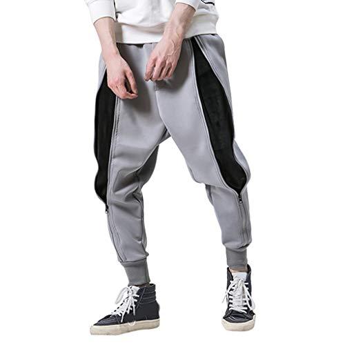 Pantaloni Uomo Cargo con Coulisse Tasche Laterali Militari Tasconi Jeans Laterali Maschio Cargo Pants Casual Sport Trousers Elastico alle Caviglie Militari Zip Pantaloni da Lavoro Uomo