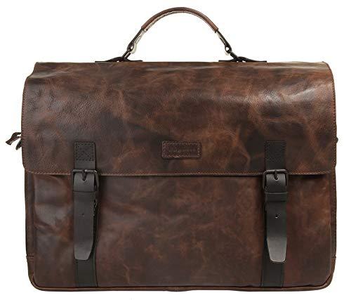 Bugatti Smoky Leder Businesstasche Groß für Damen und Herren mit 15' Laptopfach, Arbeitstasche Aktentasche Große Bürotasche, Braun