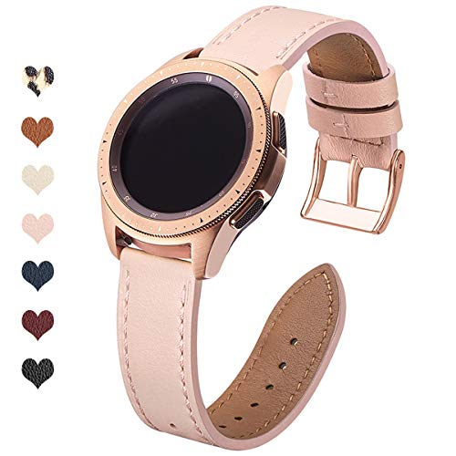OMIU Leather Bands Compatible with Samsung Galaxy Watch Active/Active 2/Galaxy Watch 42mm, Leather Hybrid Sports Band Replacement 20mm Wristband for Samsung Gear Sport/Ticwatch E/Gear S2 Classic (Pink Sand/Gold, 42mm)