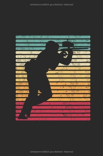 Paintball Paintballer mit Airsoft pistole Retro Vintage Notizbuch: Airsoft Softair Planen Notieren Rechenheft Liniert Journal A5 120 Seiten 6x9 Heft ... Geschenk für Paintballer SpielerPain