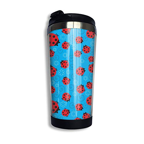 Ladybug Ladybird Seamless Pattern Travel Coffee Mug with Flip Lid Flower Stainless Steel Tumbler Cup Water Bottle Mother S Day Birthday Mug
