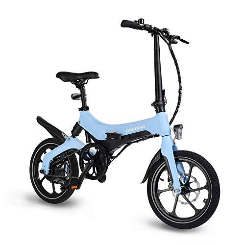 GRUNDIG Elektrofahrrad, faltbares E-Bike Fahrrad für Erwachsene mit Abnehmbarer Batterie 16 Zoll Reifen 250W Motor Magnesiumlegierung Rahmen und 3 Geschwindigkeitsmodi, Hchstgeschwindigkeit 25 km/h