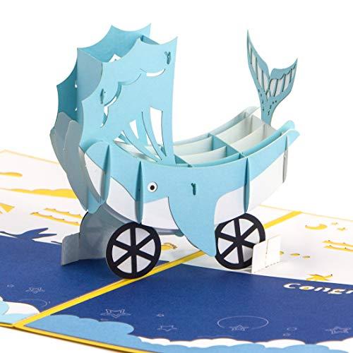 Whale Stroller Handmade 3D Pop Up Card