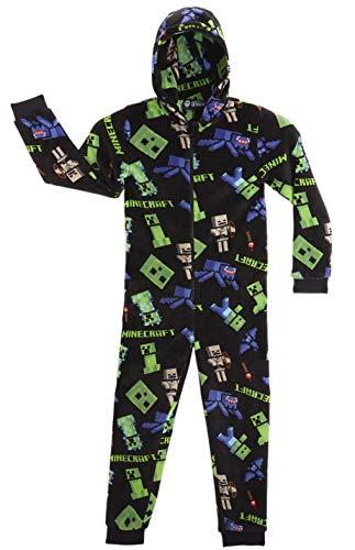 Minecraft Onesie, Jumpsuit Jungen, Kinder Schlafanzug, Super Soft Fleece Schlafoverall für Kinder und Jugendliche, Warm und Weich Kuschelanzug, Kinder (Schwarz, 7/8 Jahre)