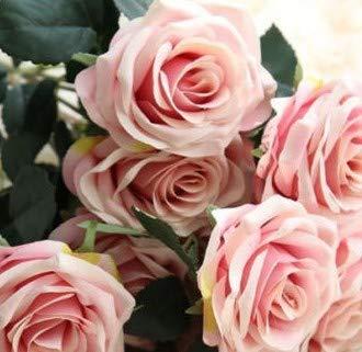 Silk Cloth Rose Simulation Flower Wedding Home Decoration Bouquet Length 45cm Deep Purple Powder