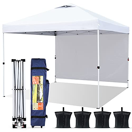 Pop-up Canopy Tent 10' x 10', Outdoor Canopy Instant Shelter with 1 Sidewall, 4 Sand Bags, 1 Wheel-Bag and Other Accessories, Lightweight Camping Canopy Easy Set-up for Party/Exhibition/Picnic, White