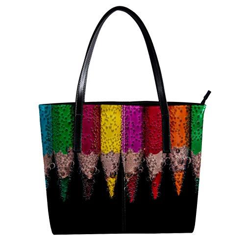 LORVIES Buntstifte im Wasser Schultertasche PU Leder Handtasche Handtasche Damen