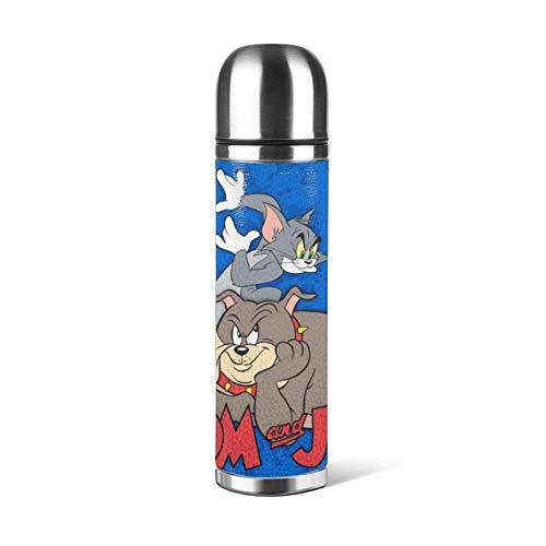 yushan Tom Jerry - Botella de acero inoxidable con doble pared aislada al vacío, portátil para coche