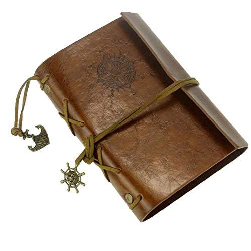 Isuper Cuaderno de Cuero de protección de Cuero de la Nueva Vendimia Arte Diario Diario del Cuaderno de Brown Papelería