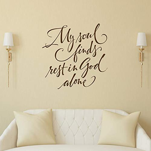 My Soul Finds Rest in God Alone - Psalm 62:1 Scripture Wall Decor Sticker Christian Wall Art Bedroom Wall Decal A6 57x57cm