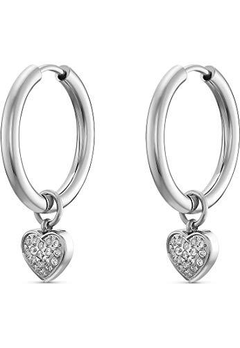 GMK Damen-Creolen Edelstahl 18 Zirkonia One Size Silber 32013584