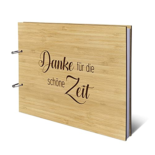 Gästebuch Abschiedsgeschenk für Kollegen Bambus Cover Ringbuch 72 Blätter | 144 Seiten DIN A4...