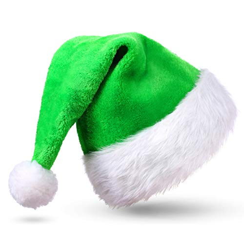 CITÉTOILE Grün Weihnachtsmütze Nikolausmütze, Weihnachtsmützen aus Velours für Erwachsene, Dicke Plüschkrempe Weihnachtsmütze für Männer und Frauen, Kostüm Weihnachtskostüm Party Dekoration, Grüne