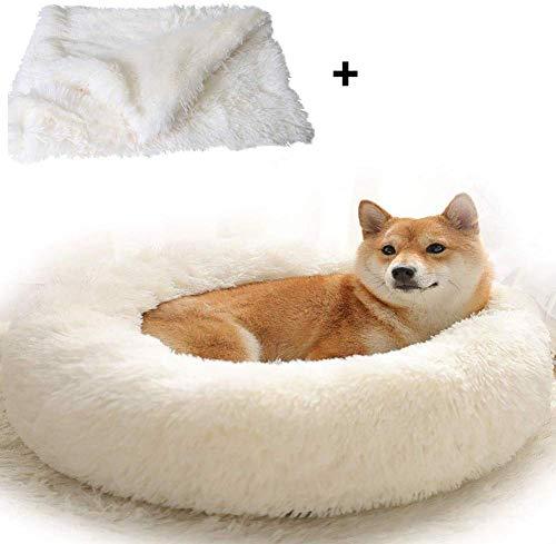 Premium Rundes Plüsch Selbstwärmendes Hundebett mit Decke Donut Hundehütte Weicher Welpenkorb Schlafen/Ruhe Katze Dickes Kissen Waschbar
