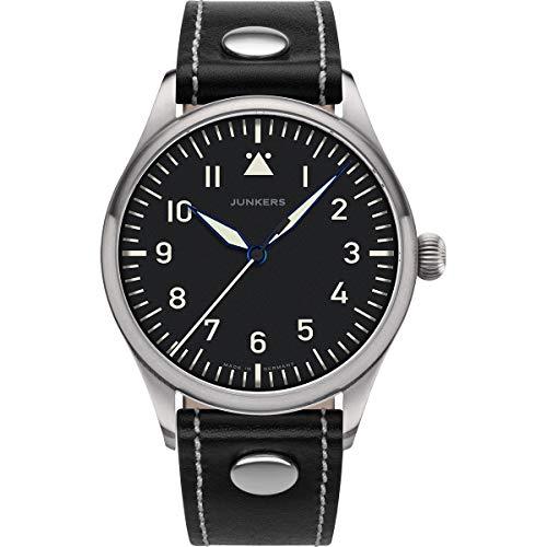 Junkers Baumuster Analog Quarz Uhr Lederarmband Saphirglas schwarz 9.20.01.02