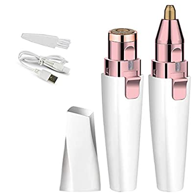 2 in 1Facial Hair Removal for Women, Waterproof Hair Remover Women's Painless Peach Fuzz Trimmer Shaver with Built-in LED Light for Chin Hair Upper Lip?Eyebrow?with Two Cutter Heads? (White) from SHENXUNKEJI