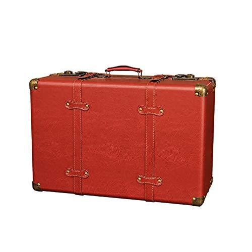 XJJUN Maleta Vintage Caja De Almacenamiento Retro, Caja De Dote De Maleta Organizar Caja De Almacenamiento De Almacenamiento Dote Accesorios De Fotografía De Boda (Color : Red, Size : 52x22x35cm)