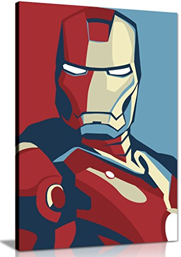 Lienzo decorativo retro Pop Art de Iron Man (36 x 24)