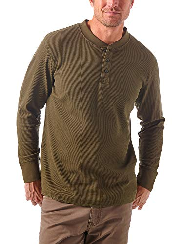 Wrangler Authentics Men's Long Sleeve Waffle Henley, forest Night, XX-Large