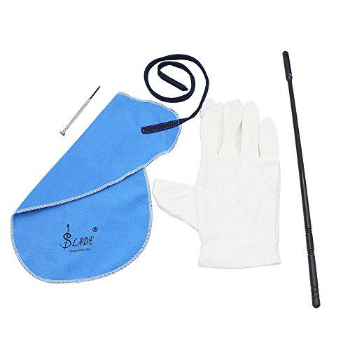 Andoer Reinigungsset für Querflöte mit Reinigungstuch, Stock, Korkfett, Handschuhen, Schraubendreher