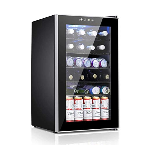 Beverage Refrigerator and Cooler, 85 Can or 24 Bottle Mini Fridge with Glass Door for Soda Beer or Wine, Freestanding Wine Cellars for Office Home Bar with 5 Adjustable Removable Shelves