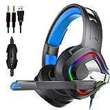 ゲーミングヘッドセット ステレオ7.1ユニバーサルシリアルバスノイズキャンセLEDライトE-スポーツヘッドフォンブラック 高音質 ノイズキャンセリング 軽量 (Color : Black, Size : M)