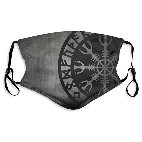 Shanweiweidong Helm of Awe Viking Celtic Rune Aegishjalmur Runic Washable Cloth Face Mask Reusable Bandanas for Women and Men Adjustable Sports Mask