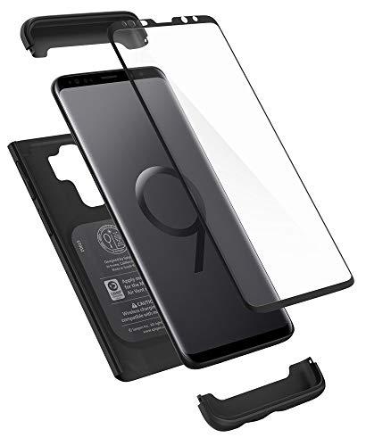 Spigen 593CS22959 Thin Fit 360 für Samsung Galaxy S9 Plus Hülle, 360° R&umschutz-Schale mit Gratis Panzerglas Handyhülle Schutzhülle Case Schwarz