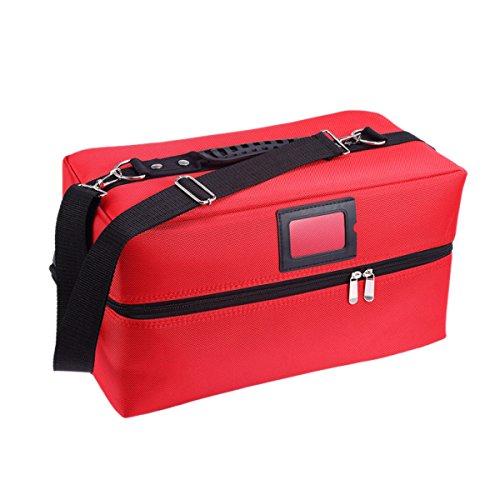 Grand Simple Portable Pratique Tendance Double Ouverte Cas Cosmétique Boîte à Ongles Boîte à Outils Sac à Cosmétiques Couleur Unie,Red-40*20*22cm