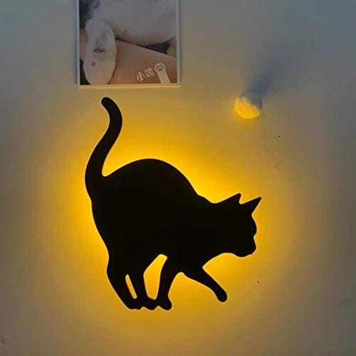 Lámpara de pared de gato Mini Animal de dibujos animados Gato Perro Silueta LED Decoración de dormitorio para niños Sensor de voz + luz Luces nocturnas de emergencia 10126, G
