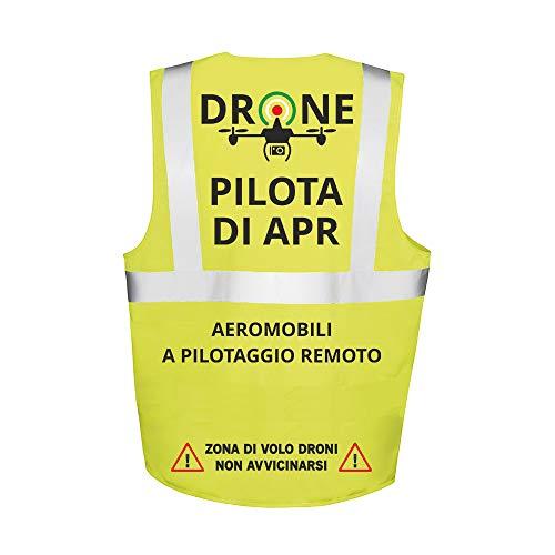 Fashion Graphic Gilet Multitasche Pilota di Apr Drone Operatore Assistente Tecnico Video Sapr Alta visibilità Giallo Giubbotto Tre Taglie Catarifrangente Sicurezza Conforme Enac (Pilota di Apr, M)