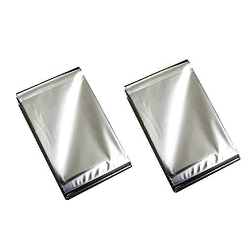 BSTHP Notfalldecke, 2 Stück, Sonnenschutz, Outdoor-Isolierung, Camping-Teppich (Silber)