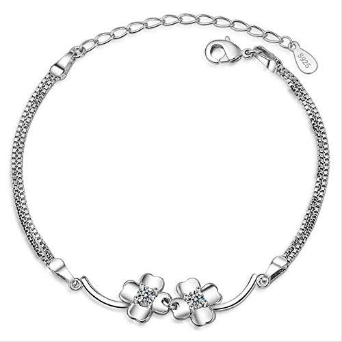 CKAWM Halskette Vierblättrige Gras Zirkon Armband Frau