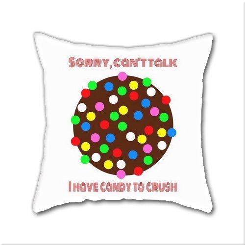 Estrange Cotton Linen Throw Pillow, Trade; I Have Candy To Crush! Candy Crush Cotton Linen Square Decorative Throw Pillow Case Cushion Cover 18 x 18 Inch