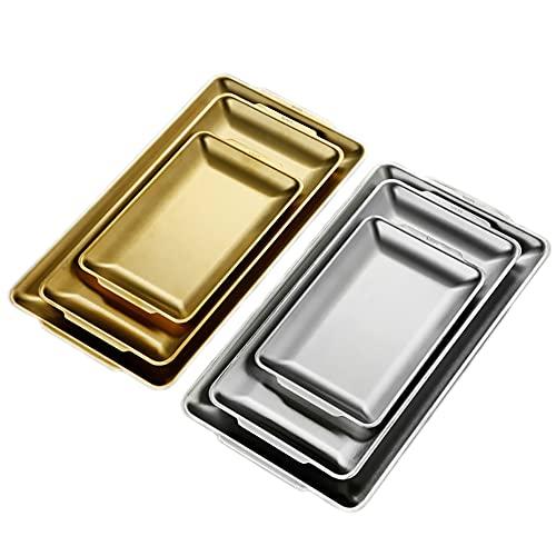 UPTALY 6 platos rectangulares para servir, 18/10 bandeja de acero inoxidable de grado alimenticio, bandeja de postre oblongo, juego de platos para servir francés, bandejas de servir largas