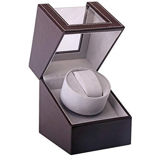 YUXIwang Caja de Relojes Individual Reloj automático de la devanadera de visualización de Piel Premium de Almacenamiento silencioso Motor Piano Pintura Negro Brillo rotación del Reloj