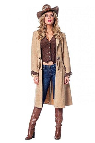 shoperama Cowgirl Damen-Kostüm Mantel und Weste in Luxusausführung Western Wildleder-Optik, Größe:44