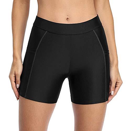 Charmo Women Swimming Shorts Tankini Swimwear Shorts with Pockets Quick Dry Boardshorts Black L