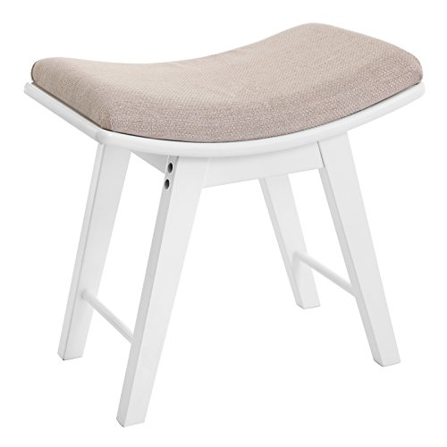 SONGMICS Vanity Stool, Modern Makeup Dressing Stool with Concave Seat Surface, Padded Bench with Rubberwood Legs, Capacity 286lb, for Bedroom, White