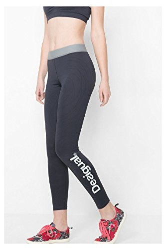 Desigual Leggings Flow Damen Fitnesshose Sporthose Workout Dark Grey, Größe:L