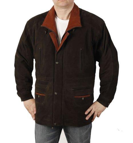 Simons Leather Manteau Homme en Cuir « Parka » Longueur 3/4 en Nubuck Marron/Fauve - Taille 2XL