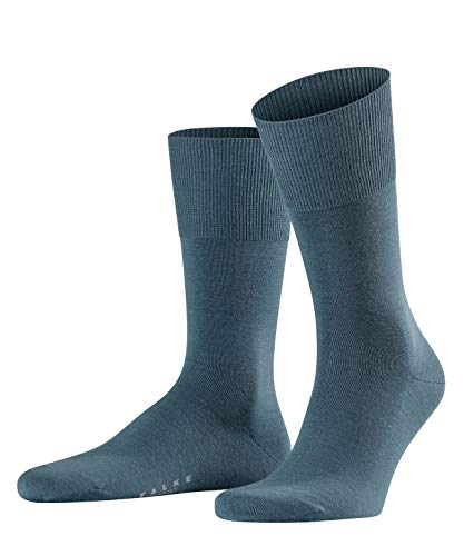 FALKE Herren Socken Airport - Merinowoll-/Baumwollmischung, 1 Paar, Grau (Steel Grey 3583), 45-46