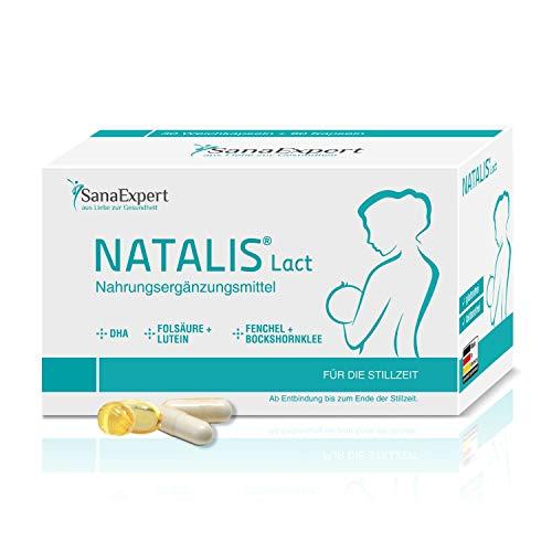 SanaExpert Natalis Lact, 90 cápsulas, preparación combinada para la lactancia después del embarazo con vitaminas DHA Ácido fólico, Luteína, Hinojo, Fenogreco.